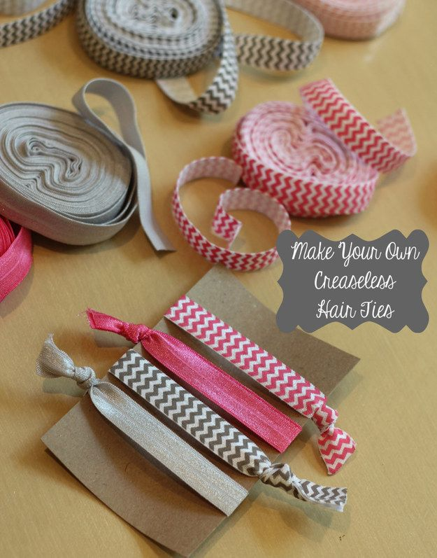 Turn your favorite patterned elastic into creaseless (and ouchless) hair ties. | 31 Pretty Hair Accessories You Can Actually Make