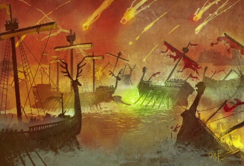An illustrated interpretation of the battle on  Blackwater Bay from Clash of Kings.