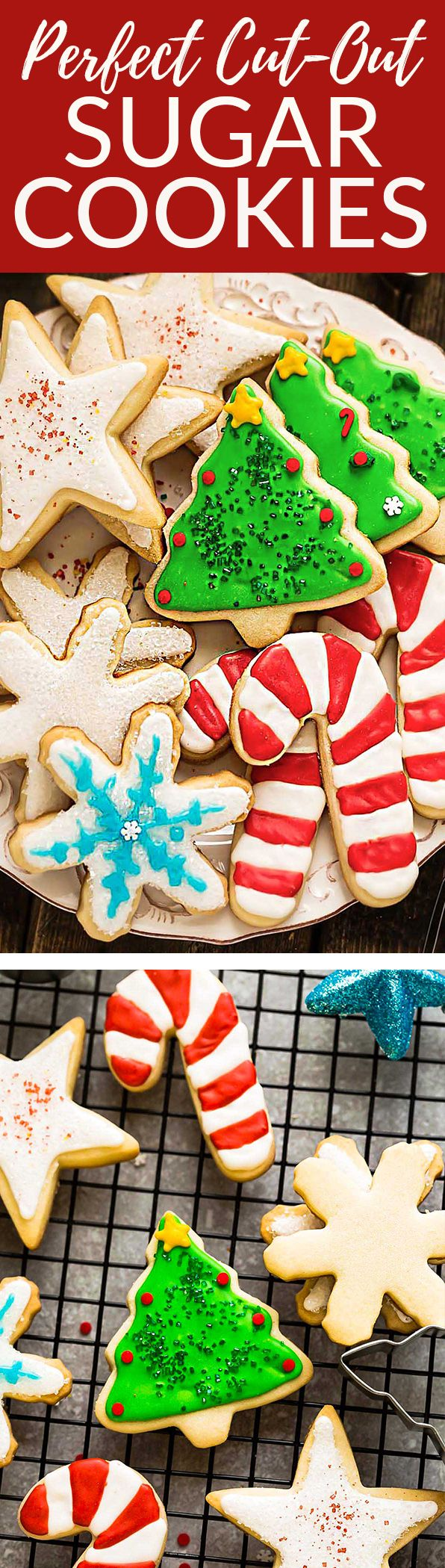 The BEST sugar cookie recipe for making decorated cut out Christmas / holiday shapes with perfect edges. Best of all, these delicious cookies bake up soft, flavorful and are easy to make with a just a few pantry ingredients. Plus instructions on how to decorate with royal icing and tips on how to make amazing cookies that don't spread. Perfect for Santa's cookie tray or holiday parties. #sugarcookies #cookies #christmas #cutout #christmascookies #holiday #dessert