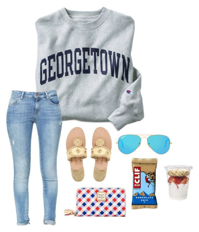 """Untitled #211"" by southern-belle02 ❤ liked on Polyvore featuring Champion, Dooney & Bourke, Zara, Jack Rogers and Ray-Ban"