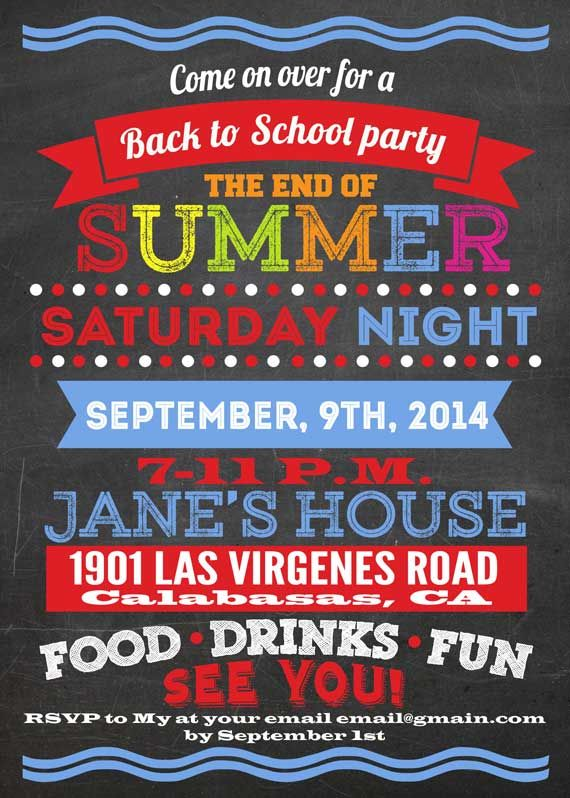 Printable Back-to-school-party invitation. The-end-of ...