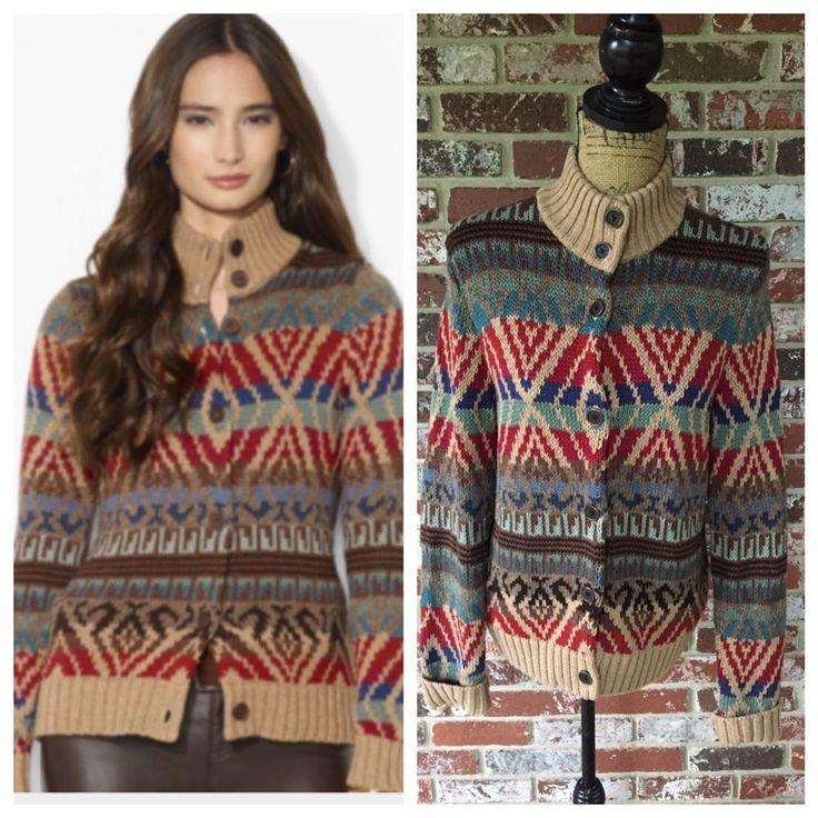 Lauren Ralph Lauren Southwestern Aztec Cardigan Sweater Cotton Linen Large   185 bba42c4482e