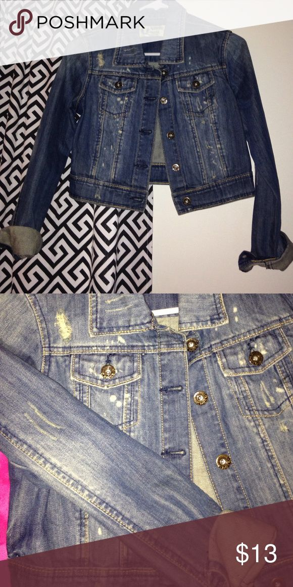 Denim jean jacket! Super cute to accessorize outfits and a throw on on those chilly fall days, super thick material and super cute! Charlotte Russe Jackets & Coats Jean Jackets