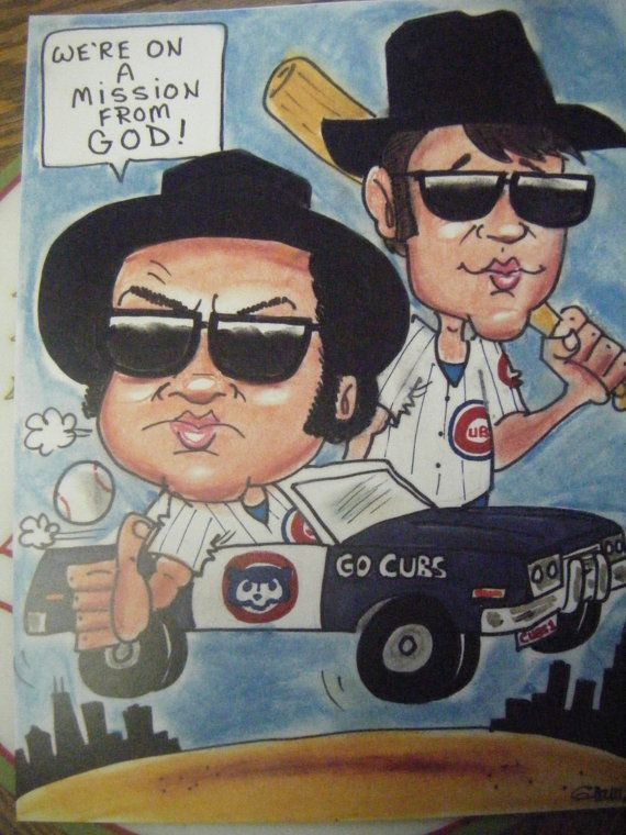 chicago cubs blues brothers  caricature