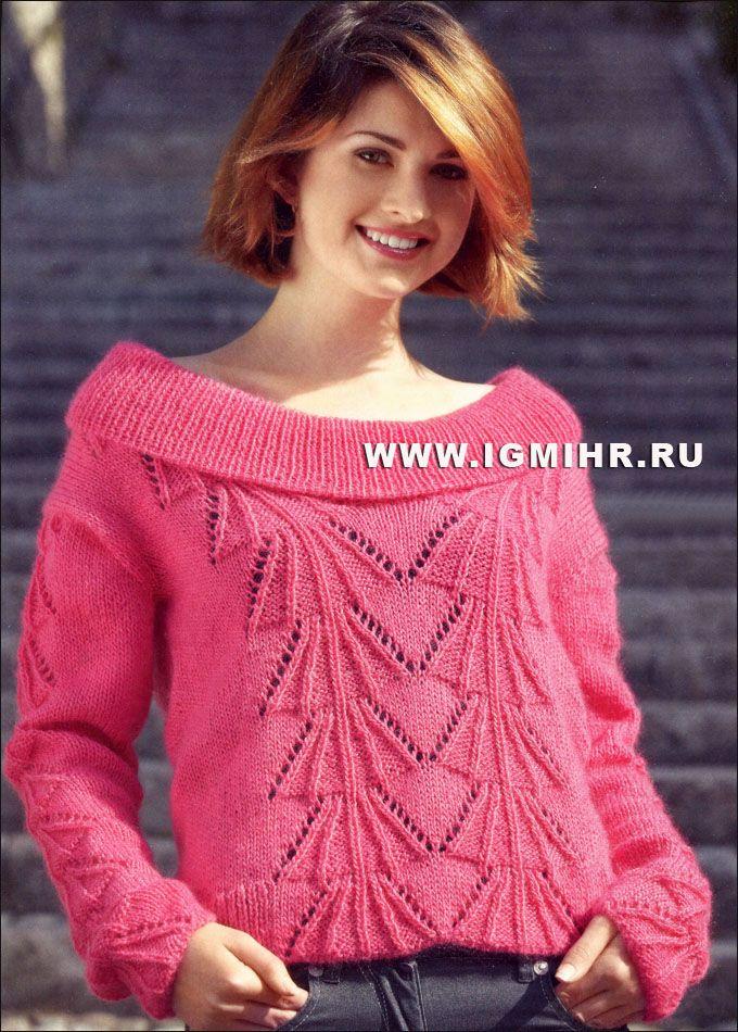 Ярко-розовая блуза с ажурным узором. Спицы