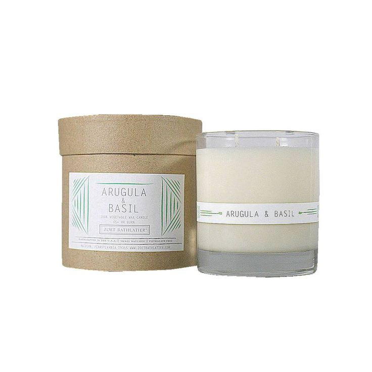 <p>Aromatic arugula and fresh basil with notes of blooming cyclamen, white lily, and very fresh, crisp green notes.  All of our candles are 100% vegetable wax (a blend of soy and botanicals). We scent our candles with phthalate-free fragrances, pure essential oils and use double ,cotton wicks for a clean burn and a well dispersed scent throw .  The vessel for the Rustic Candle Collection comes in an 11 ounce glass tumbler and can be recycled to use as a cocktail glass ...