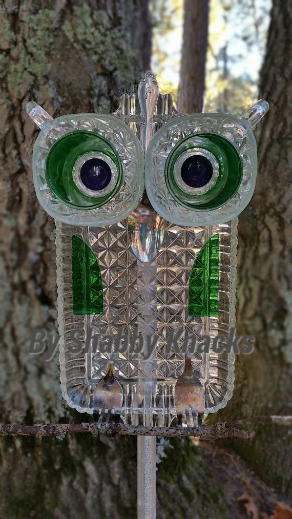 Whimsical Repurposed Owl Garden Art From Vintage Glass Dishes By  ShabbyKnacks On Etsy