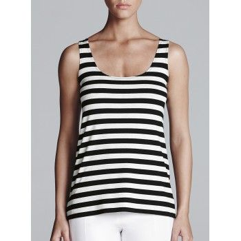 Mela Purdie Essential Tank - Icon Stripe Give a simple outfit a touch of print with Mela Purdie's essential tank in stripe. The round neckline and slim flattering fit offers the perfect stripe piece to work back with all the Style Icons items in your wardrobe.
