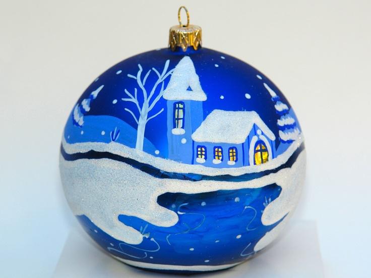 Hand Painted Christmas Ornament Large Glass Ball. $16.90, via Etsy.