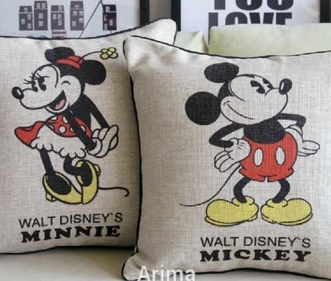 Vintage Mickey & Minnie Mouse Pillow Case