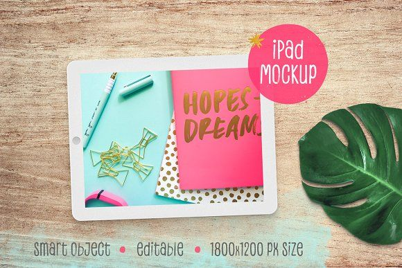 iPad™ Mockup with Monstera Leaf by Hype Your Prints on @creativemarket