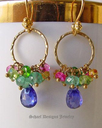 Peridot apatite pink rubies citrine chrome diopside & tanzanite CZs gemstones on brushed gold 22kt gold vermeil ring & dangle earrings | online upscale artisan handcrafted jewelry boutique | Schaef Designs gemstone & pearl earrings | San Diego, CA