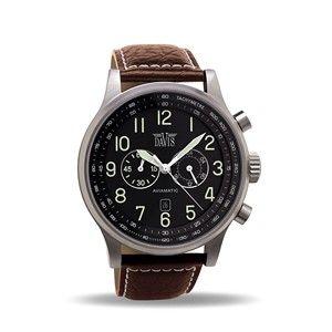 Montre Aviateur Homme Chronographe Etanche 50M Bracelet Cuir Marron Davis 0451