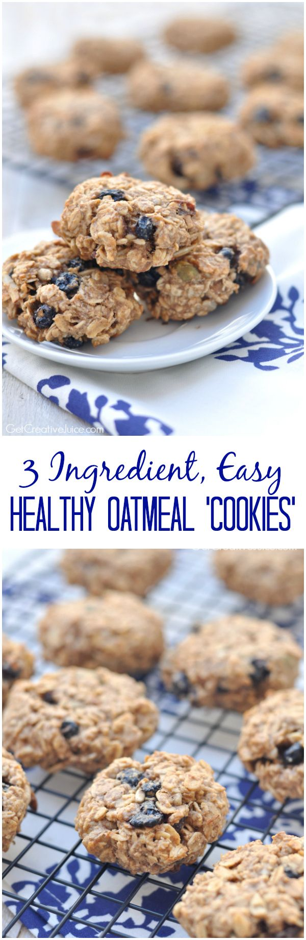 Three Ingredient, easy, healthy oatmeal ' cookies' - vegan, no added sugar, and packed with goodness and protein! Perfect for breakfast or a snack on the go for the whole family