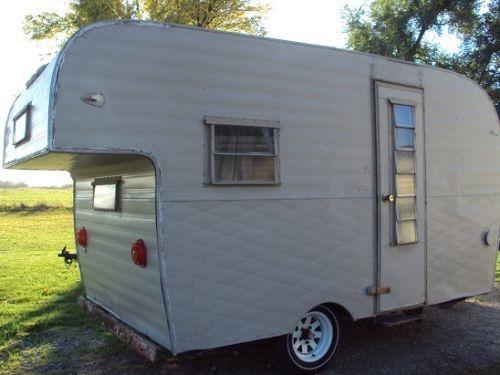 Vintage Camper Travel trailer canned ham unusual rear overhang for bunk bed