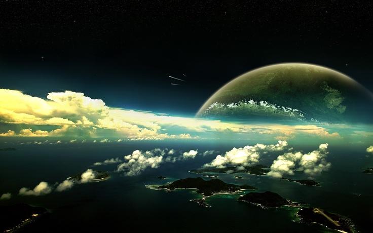 Download 2560x1600 planet, clouds, sky, islands, water Wallpaper Widescreen WallpapeprsCraft