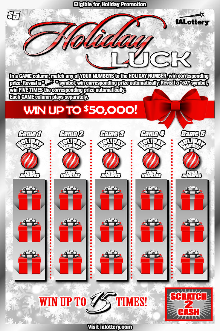 The holiday luck scratch game launched at iowa lottery retailers on oct 2 2017 this 5 game offers top prizes of 50 000 nonwinning tickets in this game