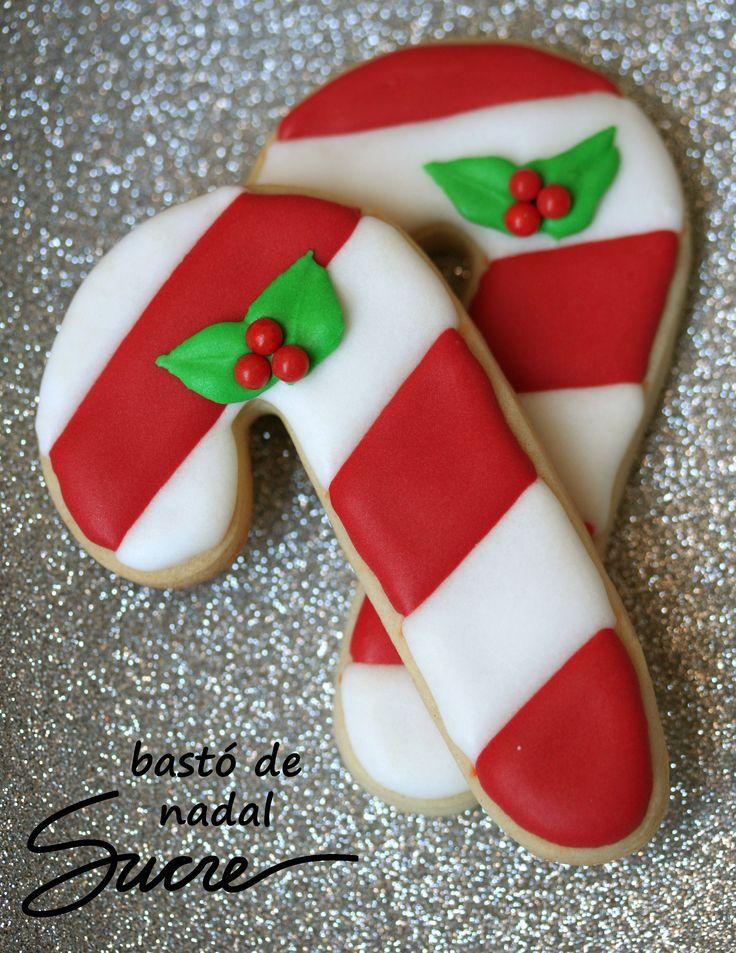 Galletas decoradas de bastones de navidad