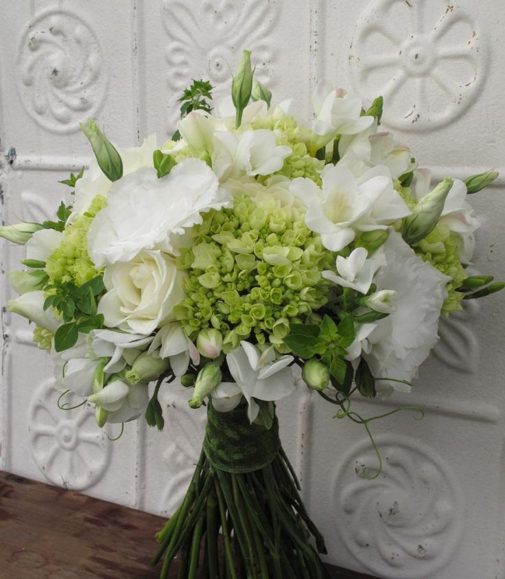 white and green bridal bouquet includes hydrangea lisianthus roses sweet pea freesia and. Black Bedroom Furniture Sets. Home Design Ideas