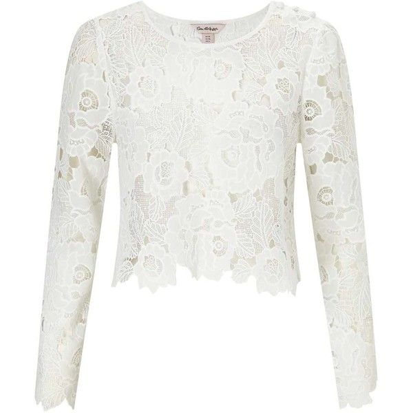 Miss Selfridge PREMIUM Lace Long Sleeve Crop Top (£83) ❤ liked on Polyvore featuring tops, white, white lace top, white crop top, cut-out crop tops, lace top and miss selfridge tops