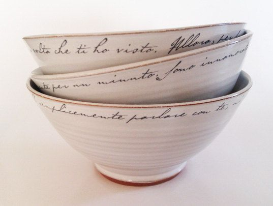 Good for literary soup: Decor, Bowls White, Wedding Ideas, Art, Pottery, Italian Tableware, Letters Bowls, Ceramics Bowls, Love Letters
