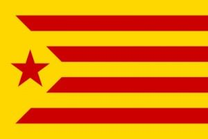 """Catalan independence movement """"Starry Red"""" (""""Estelada vermella"""") flag, one of two used by the supporters of Catalan independence."""