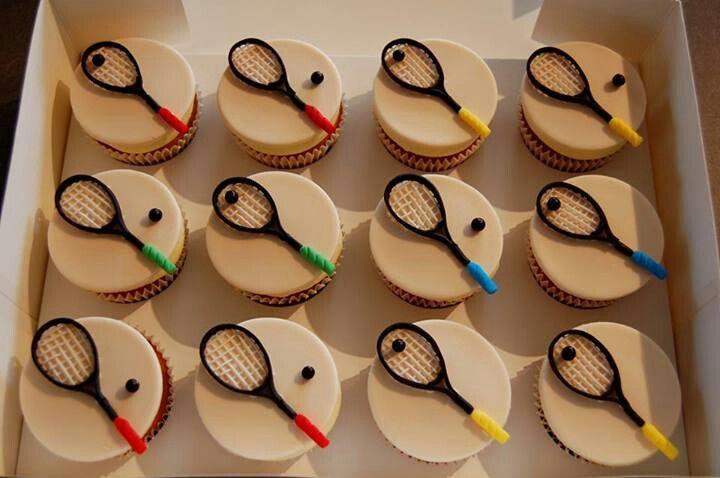 Squash racket cupcakes.