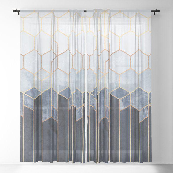 Soft Blue Hexagons Sheer Curtain By Elisabethfredriksson