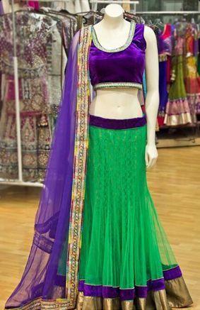 Green and Purple Designer Bollywood Lehenga Choli Online ,Indian Dresses - 1
