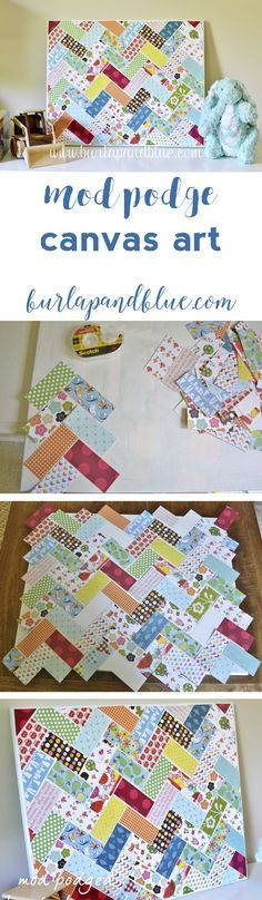 mod podge herringbone canvas wall art! great scrapbook paper project!