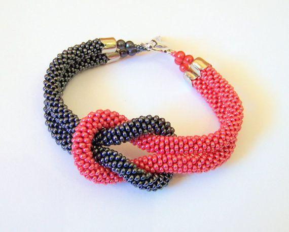 SALE - Beadwork - Bead Crochet Bracelet in grey and red - Beaded Bracelet - Infinity Knot Bracelet - Beaded Bracelet Cuff