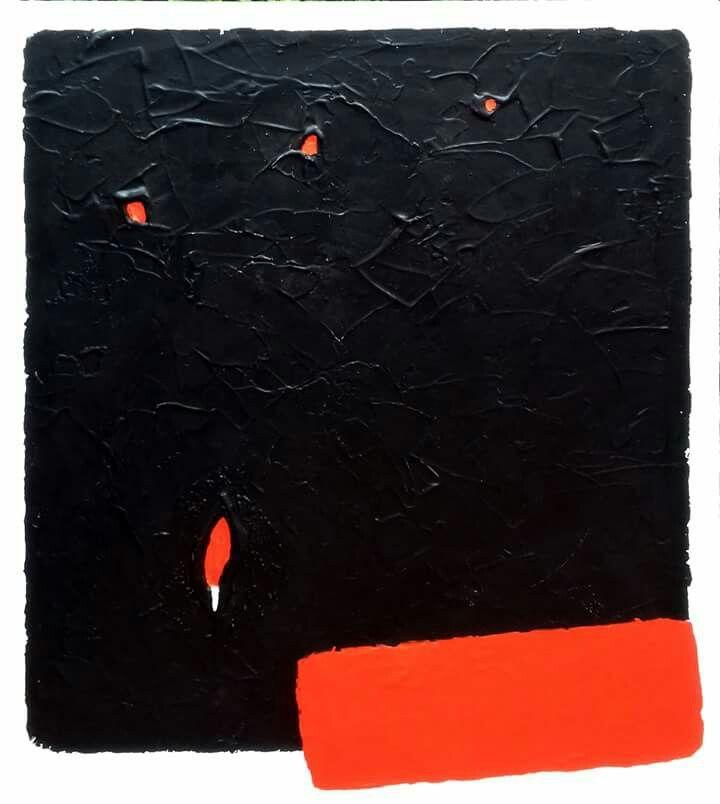 """""""Untitled XXVII"""" cemento colorato e acrilico su tela cm 100×120, 2017 www.giuseppecastelliartista.com"""