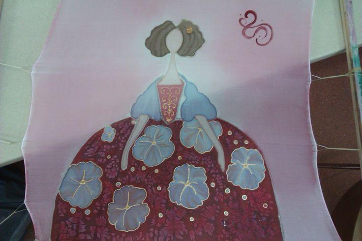 Pintura artistica sobre pañuelos de seda.    Dispongo de varios modelos de pañuelos de seda pintados a mano.   Realizo trabajos en sed...