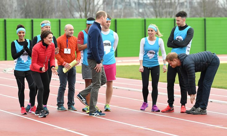 """Meghan Markle's boyfriend stretched prior to racing his older brother and sister-in-law in a relay race. Meanwhile William joked to his teammates grabbing his thigh saying, """"Oh, my hamstring."""""""