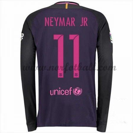 Billige Fotballdrakter Barcelona 2016-17 Neymar Jr 11 Borte Draktsett Langermet