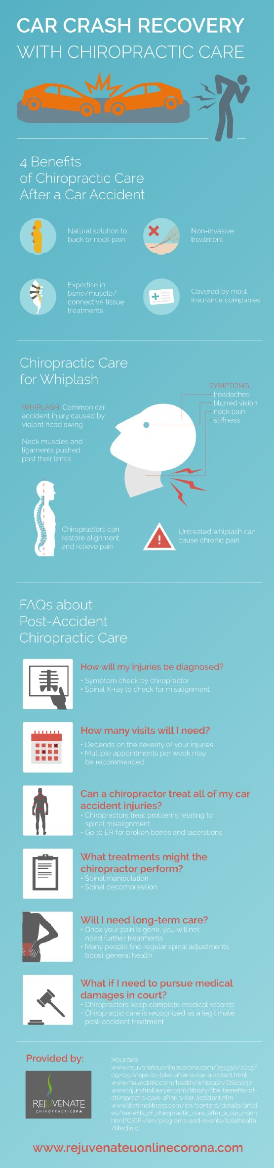 Chiropractors perform symptom checks to discover any injuries that may have occurred during a car accident. They also use spinal X-rays to check for misalignment. Find out what to expect from this type of treatment by clicking over to this infographic from a Corona chiropractor.