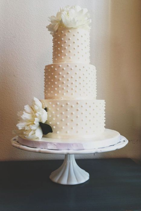 I like a simple wedding cake. You can always add pops of color with the flowers, or have some of the dots in color.