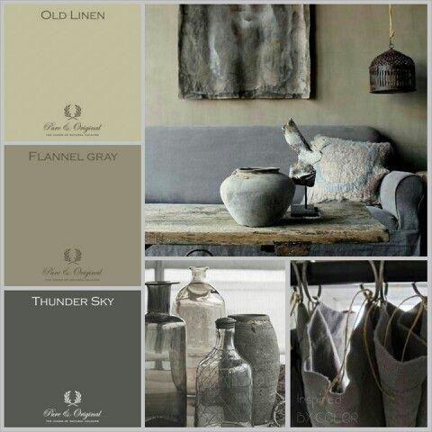 MOODboard | kleuradvies voor verbouwde boerderij #ankemosselman. Kleuren Pure & Original #krijtverf #kalkverf