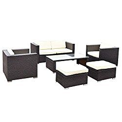Tangkula 6 PCS Patio Rattan Wicker Furniture Set Loveseat Ottoman Cushioned Garden