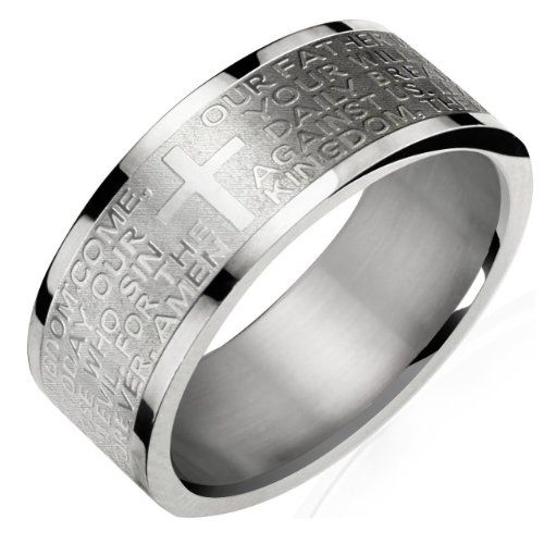 Stainless Steel English Lord's Prayer 8mm Band Ring - Men   Dahlia