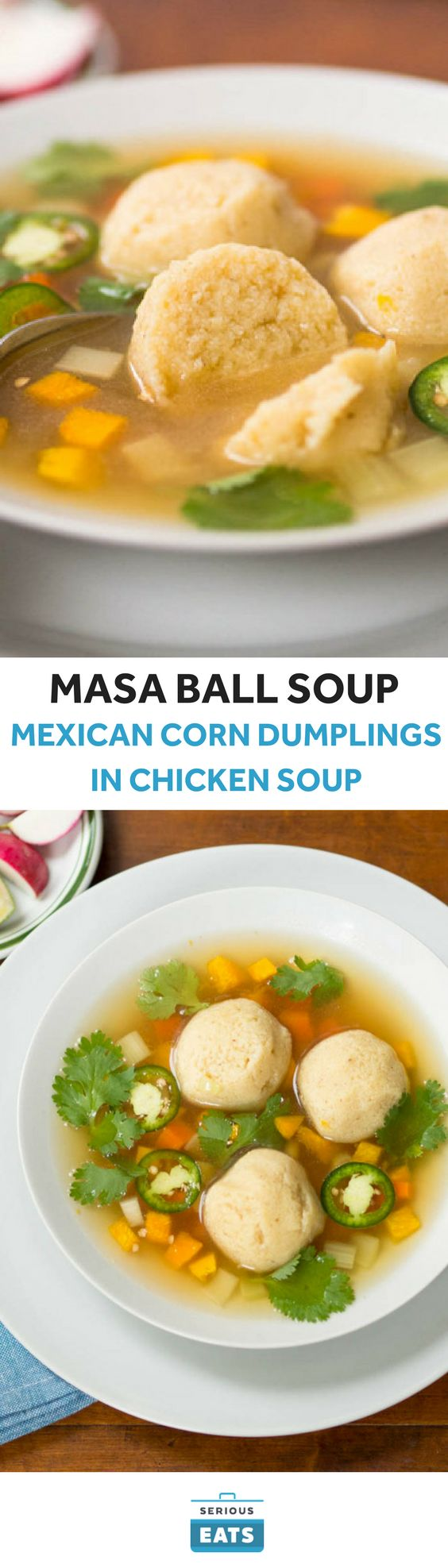 This recipe might have been inspired by a pun, but the taste is no gimmick. We give the dumplings a tamale-like flavor by replacing the matzo meal with masa harina and the schmaltz with lard. To keep the Mexican flavor going we make the chicken broth the balls are served in with jalapeño, lime juice, and cilantro.