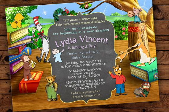 I LOVE, LOVE, LOVE THIS INVITATION.  BOOKS & CHARACTERS.... Fairy Tale Children's Classics StoryBook Baby by SavannahsMemories