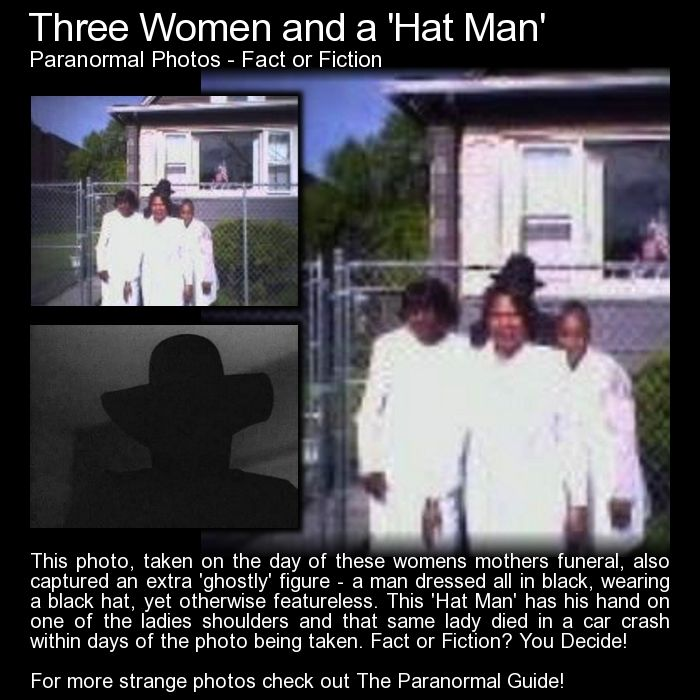 Three Women and a Hat Man. A strange photo but is it paranormal? Read more here: http://www.theparanormalguide.com/blog/three-women-and-a-hat-man