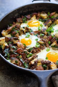 "This ""bacon burger & fries"" Paleo breakfast bake combines bacon, ground beef and crispy sweet potatoes with baked eggs. Whole30 friendly, good for any meal!"