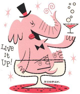 "Pink Elephant Vintage ""live it up elephant"""
