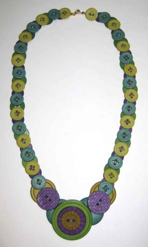 @: Button Necklace   Rit Dye  DIY instructions on putting it together