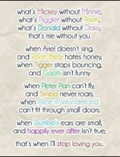 definitely describes my boyfriend and i, both Disney geeks who love each other very much :) <3