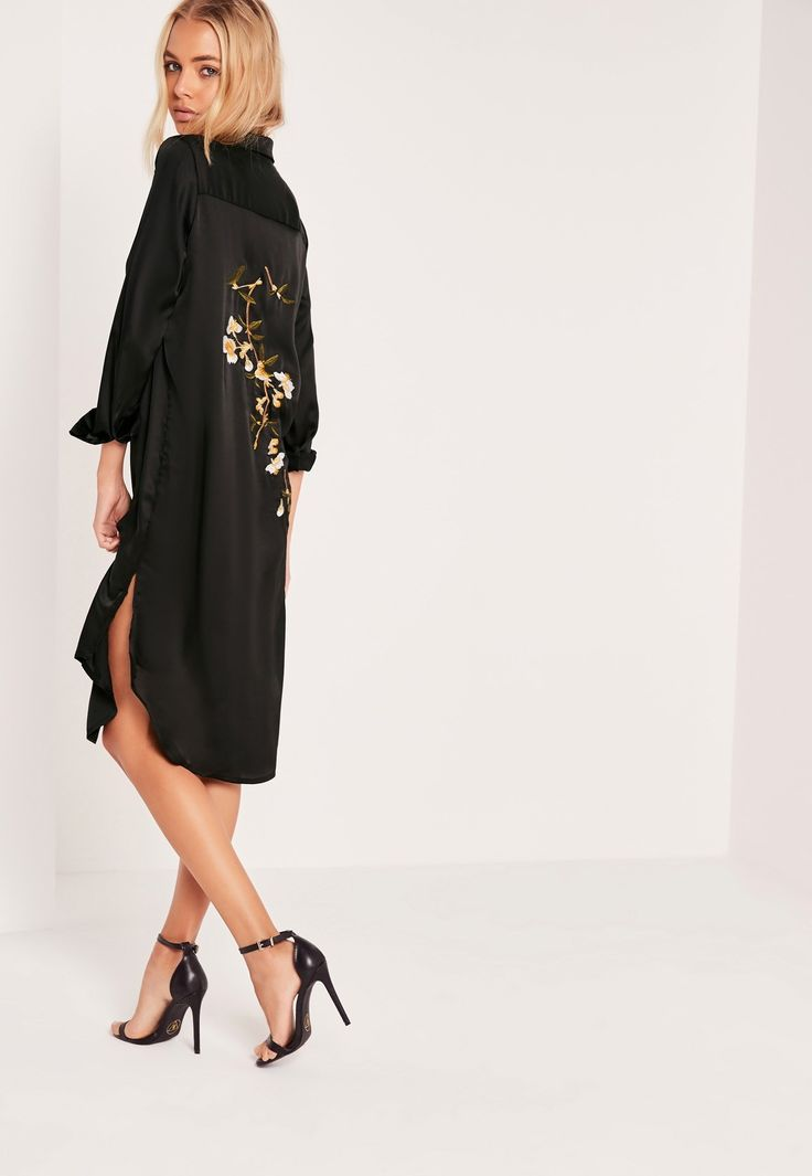 Missguided - Petite Embroidery Back Shirt Dress Black