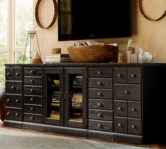 pottery barn printer 39 s eclectic media suite 96 w x 20 d x 30 h holds up to a 55 flat screen. Black Bedroom Furniture Sets. Home Design Ideas
