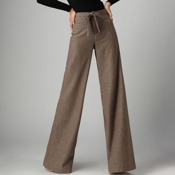 pantalon femme 2015 autumn winter office formal houndstooth trousers woolen wide leg pants women wool trousers pantalones mujer-inPants & Capris from Women's Clothing & Accessories on Aliexpress.com | Alibaba Group